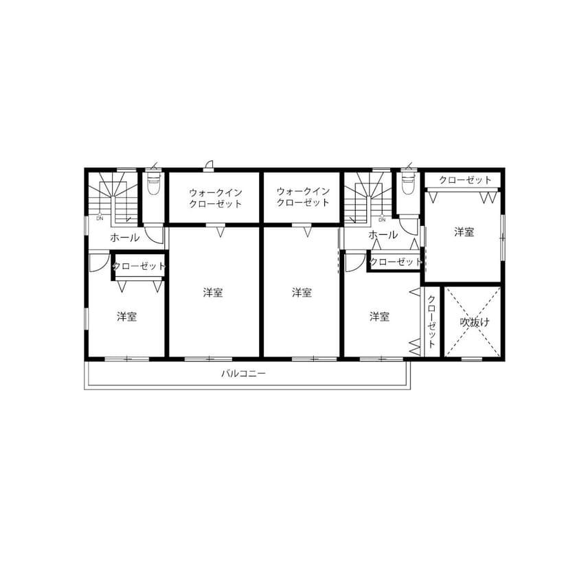縦割りの完全分離型二世帯住宅の間取り図(2階)