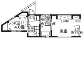 狭小地に建つガレージハウスの間取り図(1階)