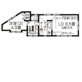 狭小地に建つガレージハウスの間取り図(3階)