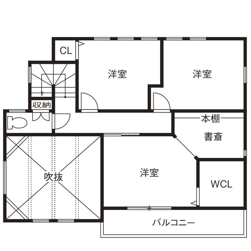 ローコスト住宅の間取り図(2階)