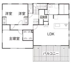 横割りの完全分離型二世帯住宅の間取り図(2階)