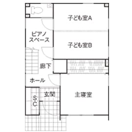 21.6坪の家の間取り図