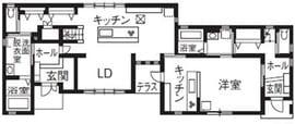 縦割りの完全分離型二世帯住宅の間取り図(1階)