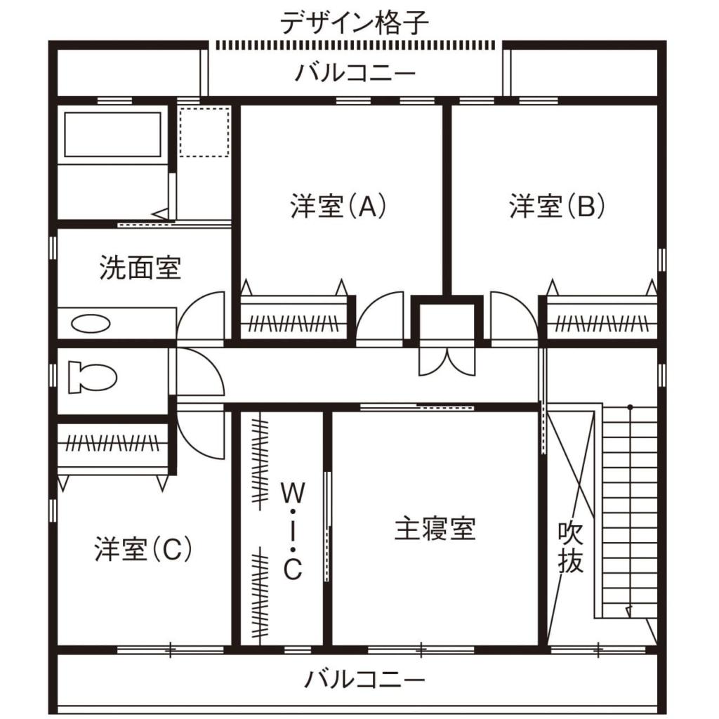 48.9坪の家の間取り図