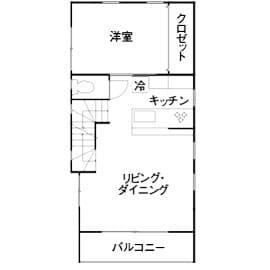 狭小地に建つガレージハウスの間取り図(2階)