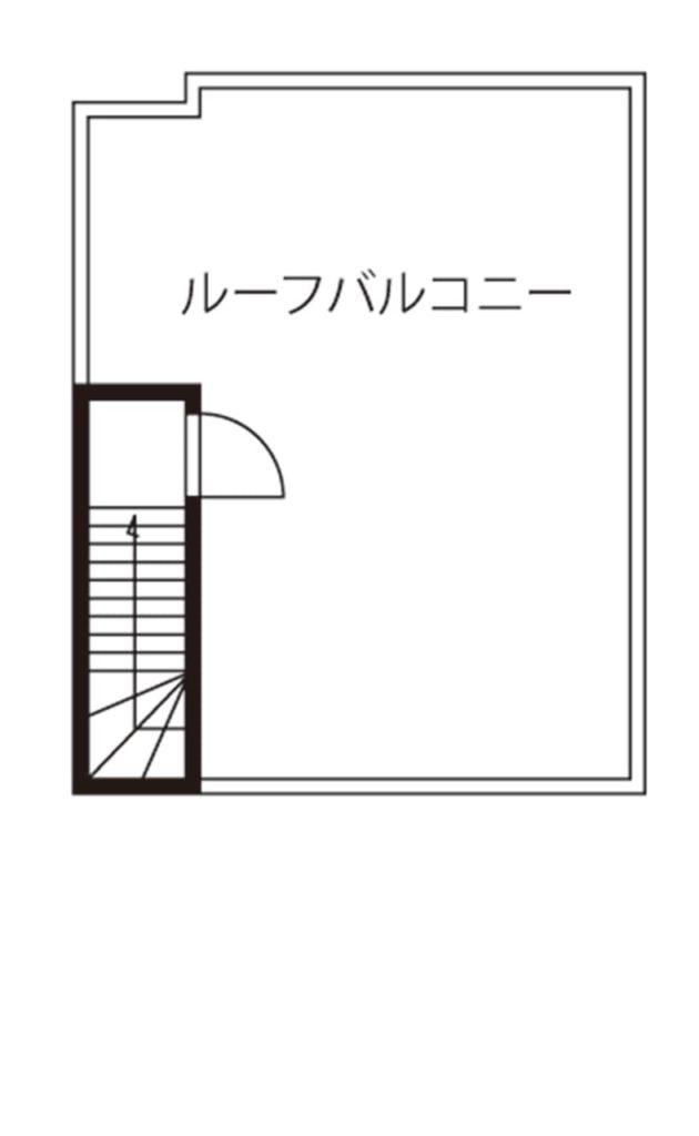 狭小地に建つガレージハウスの間取り図(屋上階)