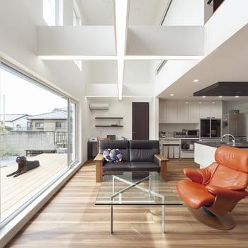 注文住宅で3000万円台の家の内観(リビング)