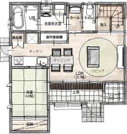 24.3坪の家の間取り図