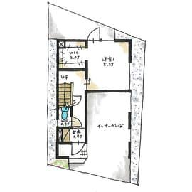 狭小地に建つガレージハウスの間取り(1階)