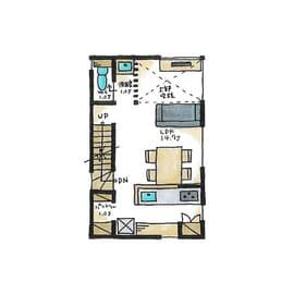 狭小地に建つガレージハウスの間取り(2階)