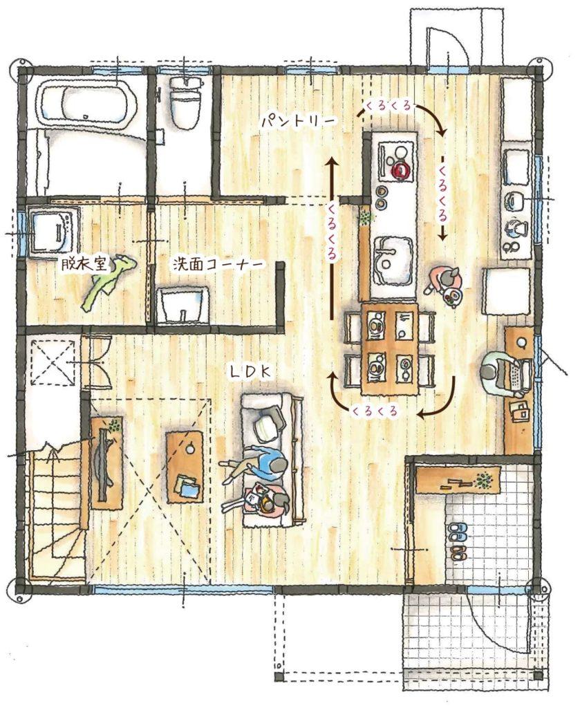 家事動線の良い快適な間取り図その1