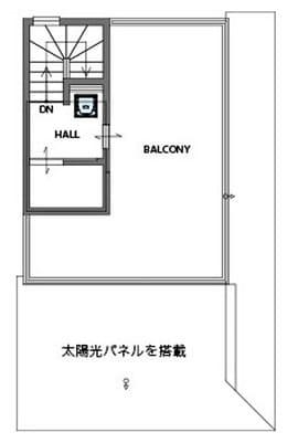 3階建ての家の間取り図(ルーフバルコニー)