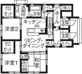 横割りの完全分離型二世帯住宅の間取り図(1階)