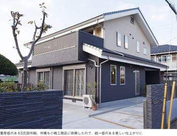 横割りの完全分離型二世帯住宅の外観
