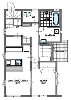 3階建ての家の間取り図(1階)