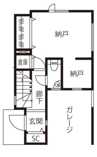 狭小地のガレージハウスの間取り図(1階)