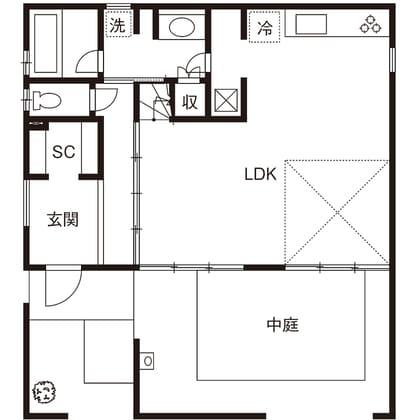 中庭のある家の間取り図(1階)