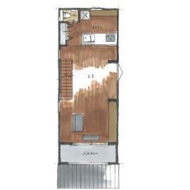 狭小地のガレージハウスの間取り図(2階)