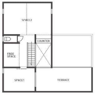 中庭のある家の間取り図(2階)