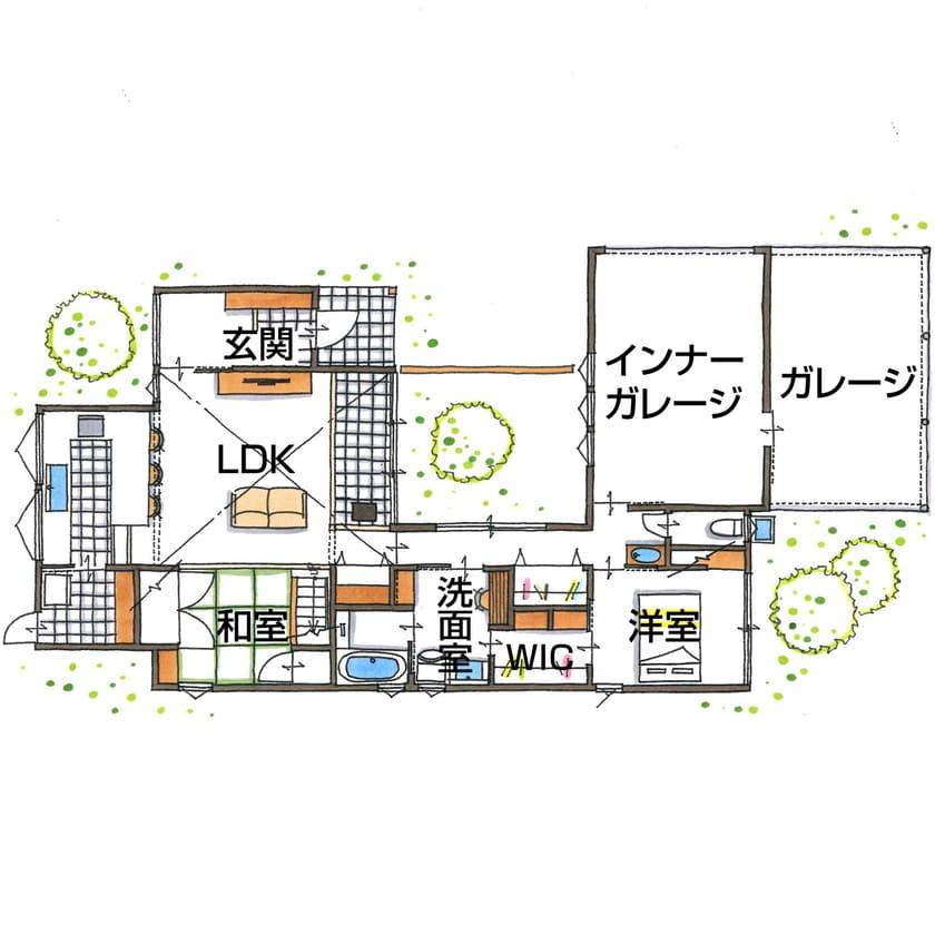 平屋のガレージハウスの間取り図(1階)