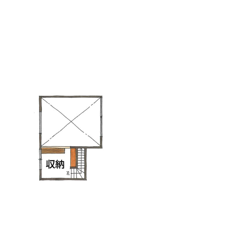 平屋のガレージハウスの間取り図(ロフト)