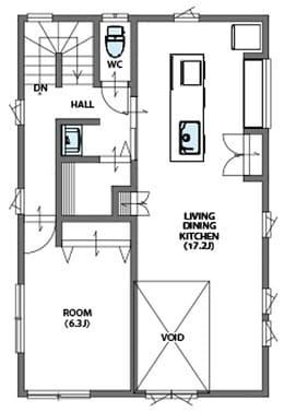 3階建ての家の間取り図(2階)