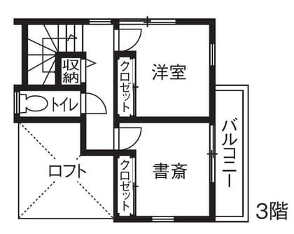 3階建ての家の間取り図(3階)