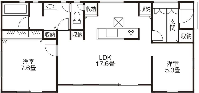 21.4坪の家の間取り図