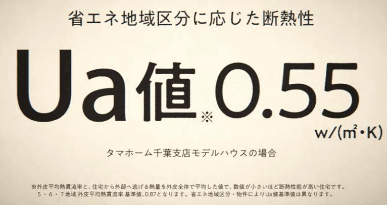 タマホームのUA値:0.55w/(㎡・k)